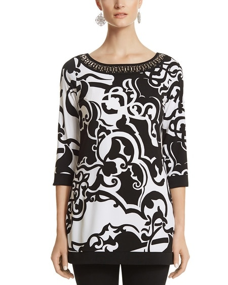 Embellished Neck Print Tunic