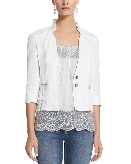 White Casual Ruffle Jacket