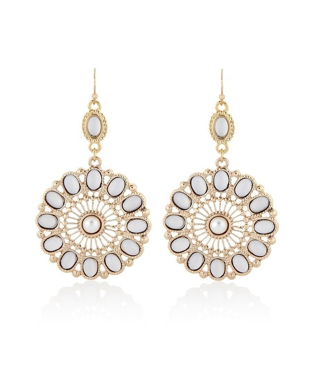 White Cabochon Floral Earring