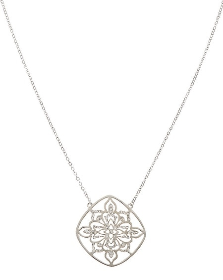 Silver Pave Long Pendant Necklace