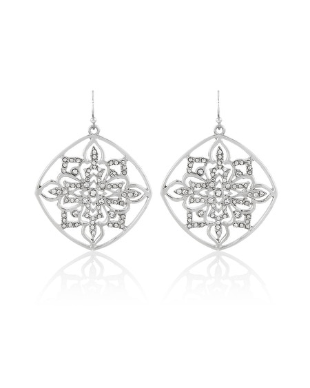 Silver Pave Drop Earring
