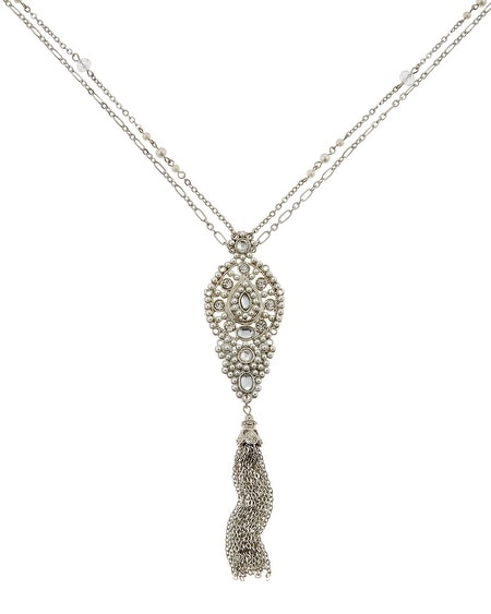 Silver Pearl Crystal Tassel Pendant Necklace