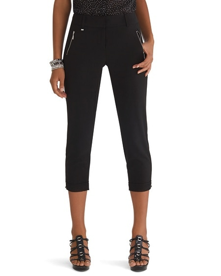 Drape Crop Hardware Pants Black