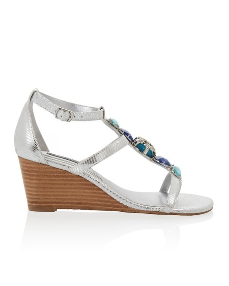 T-Strap Silver Colored Stone Wedge