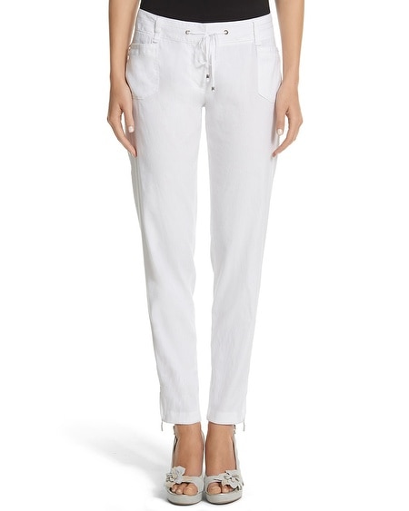 Drawstring Linen Tapered Crop Pant