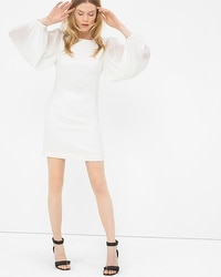 Chiffon Sleeve White Shift Dress