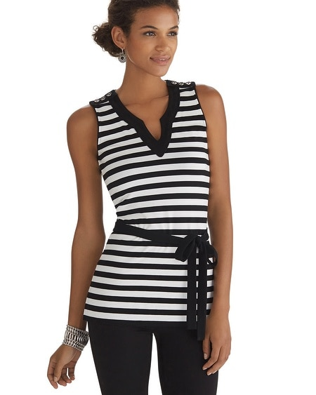 Sleeveless Stripe Tunic Top
