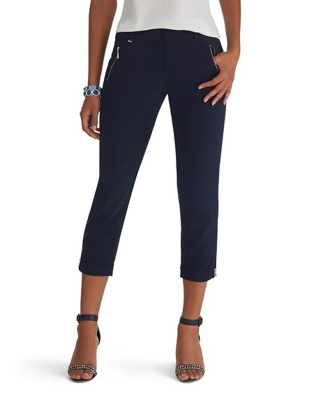 Drape Crop Hardware Pants Navy