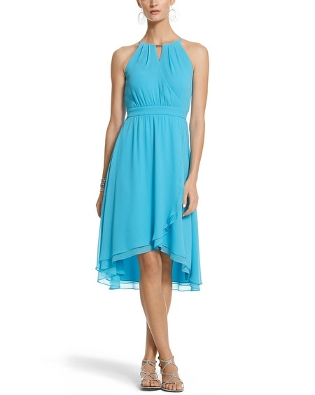 Chiffon Fit & Flare High-Low Dress