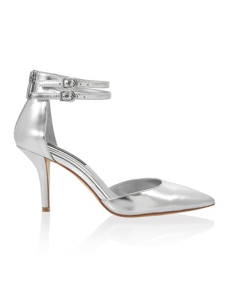 Silver Metallic Pointed Toe Heels