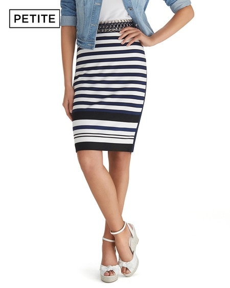 Petite Long Stripe Knit Pencil Skirt