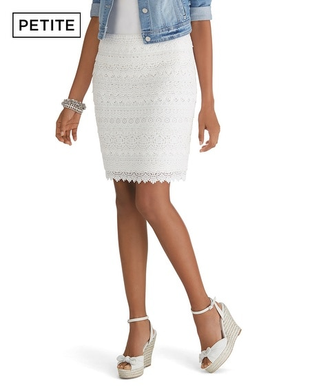 Petite Tiered Lace Pencil Skirt