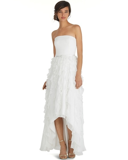 Strapless High-Low Waterfall Gown