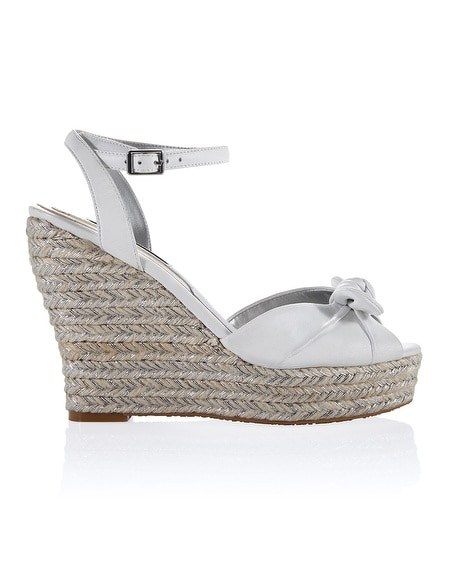 Knot Woven White Wedge