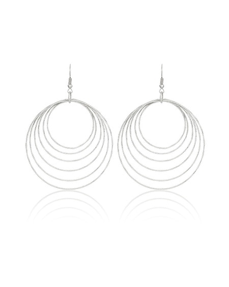 Silver Circle Drop Hoop Earrings