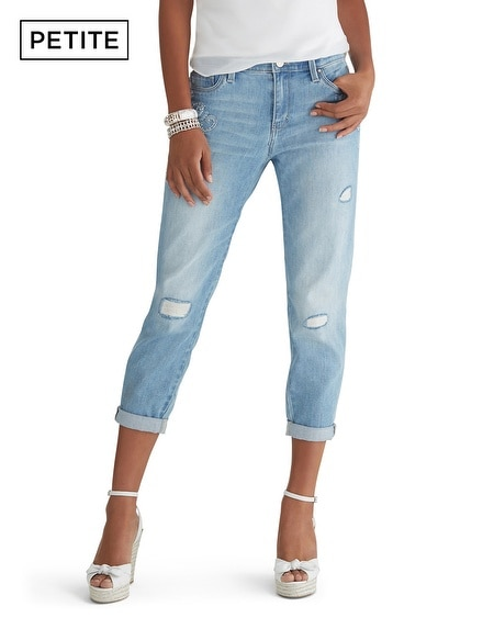 Petite Light Wash Embroidered Girlfriend Jean