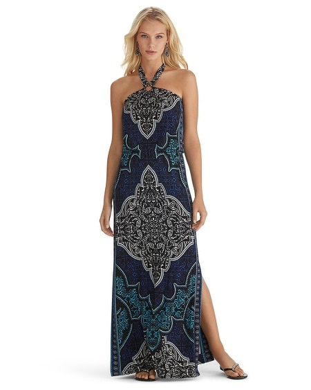 Sleeveless Printed Halter Maxi Dress