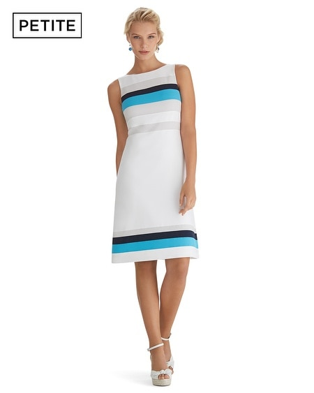 Petite Sleeveless Colorblock Shaped Shift Dress