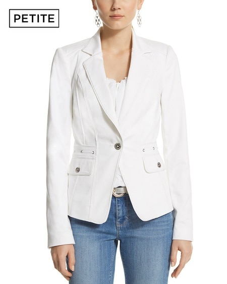 Petite White Notch Collar Blazer