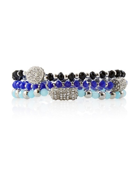 Indigo Jet Stretch Beaded Bracelet Set