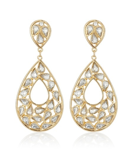 Gold Crystal Double Teardrop Earring