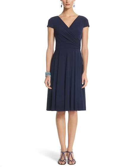 Solid Cap Sleeve Double V Neck Surplice Dress