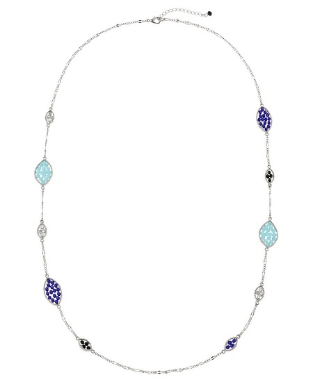 Indigo Jet Bead Long Strand Necklace
