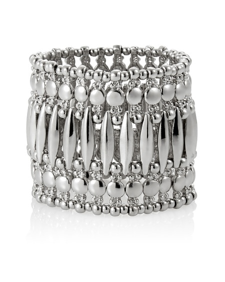 Silver Wide Metal Stretch Bracelet