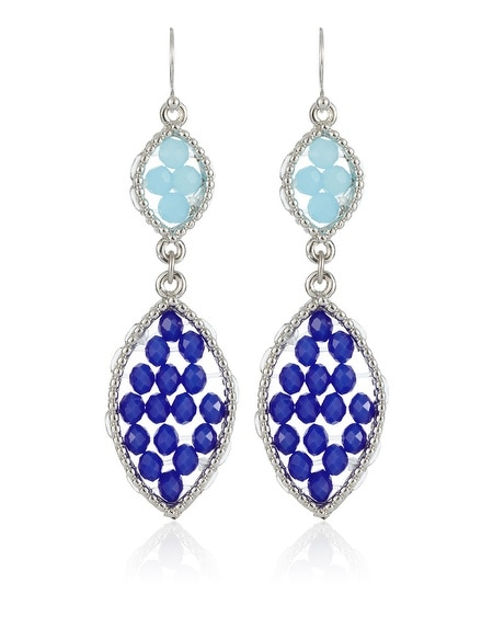 Indigo Beaded Double Drop Earring