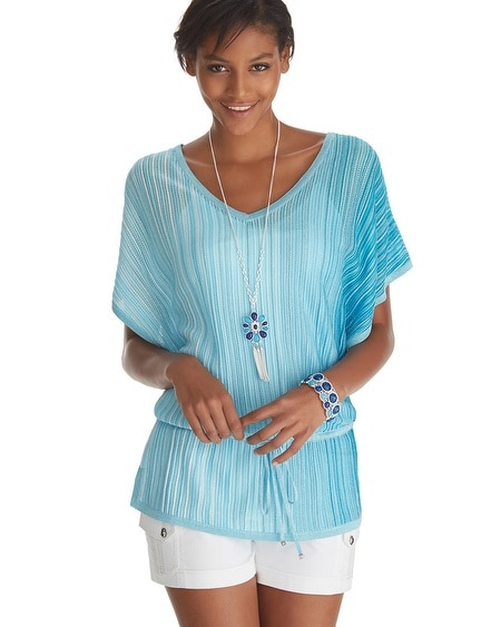 Double V-neck Tie Front Pullover