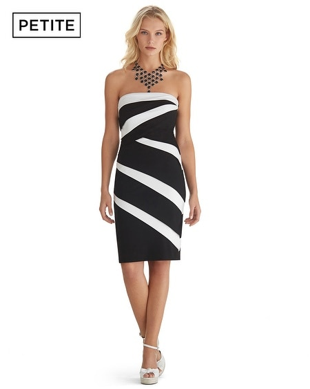 Petite Color Block Strapless Instantly Slimming Dress