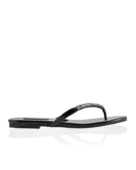 Black Crystal Embellished Flip Flop