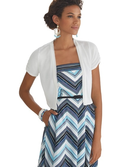 Short Sleeve Woven Trim Shrug White