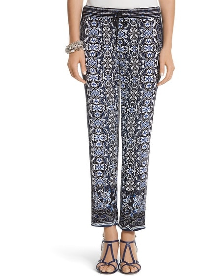 Scarf Print Tapered Ankle Pants