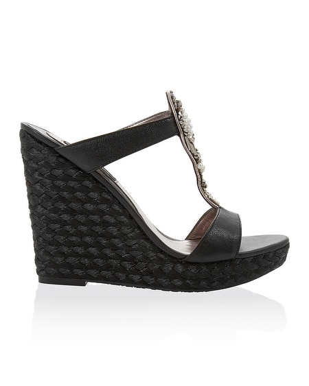 Embellished Black Espadrille T-Strap Wedge