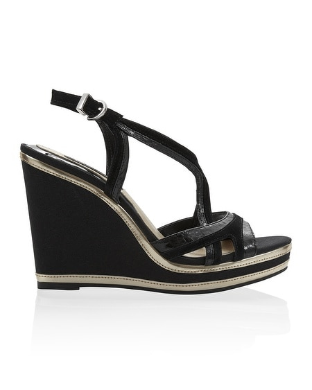Black Strappy Mix Material Wedge