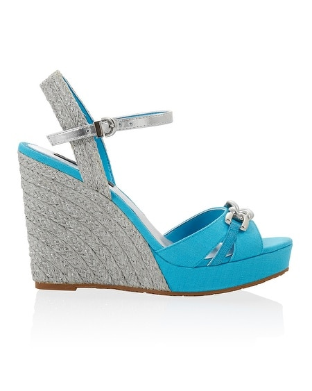 Metallic Braided Cerulean Wedge
