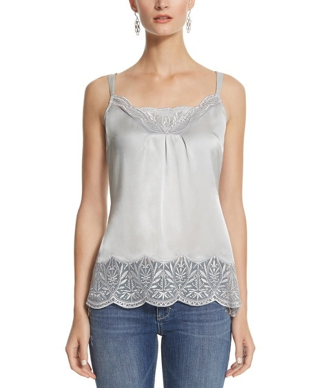 Lace Trim Silk Cami