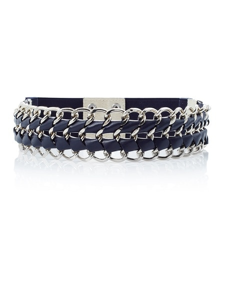 Wide Woven Chain Link Stretch Belt