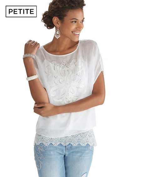 Petite Short Sleeve Embroidered Lace Blouse