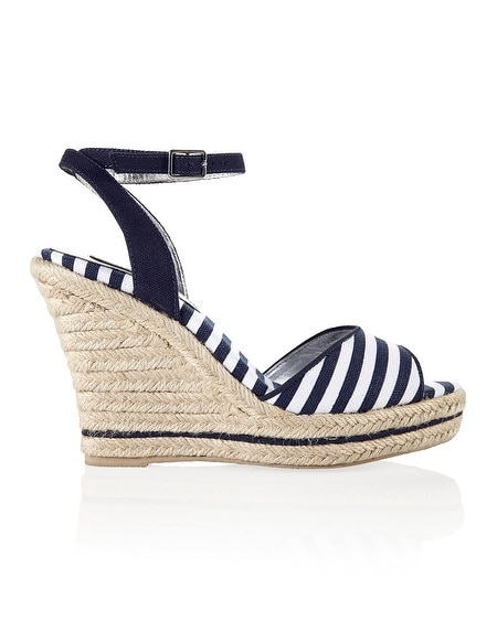 Navy White Stripe Rope Wedge