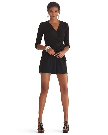 Elbow Sleeve Surplice Romper