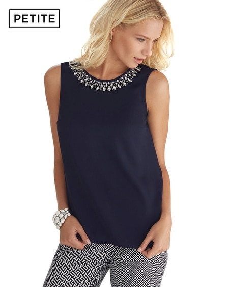 Petite Sleeveless Jewel Necklace Shell Top