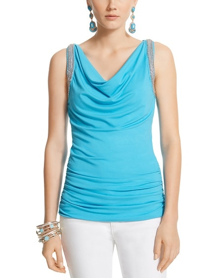 Embellished Drape Neck Top