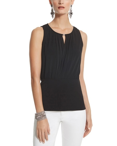 Sleeveless Pleated Blouson Top