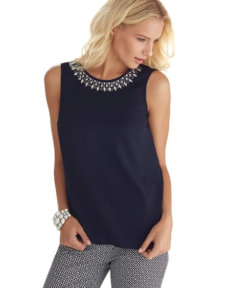 Sleeveless Jewel Necklace Shell Top