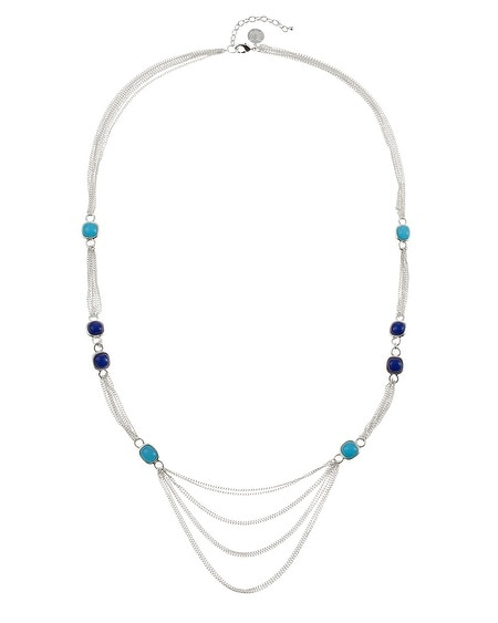 Indigo Cerulean Square Reversible Necklace