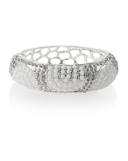 White Crystal Hinge Bangle