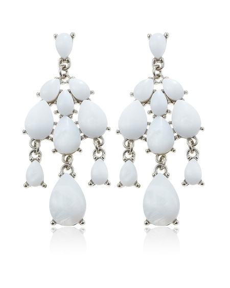 White Mother of Pearl Chandelier Earring