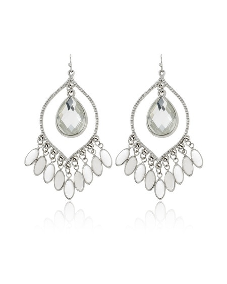 White Opaque Faceted Teardrop Earring